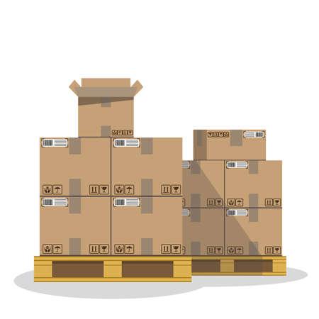 Carton boxes with fragile signs and note tape. Cargo. Moving. Ilustración de vector