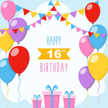 Happy 16th birthday card, illustration greeting card with balloons, colorful garlands decorations and gift boxes
