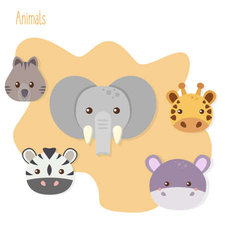 Set of five flat animals on yellow background. Quokka, zebra, giraffe, hippo and elephant. vector illustration.