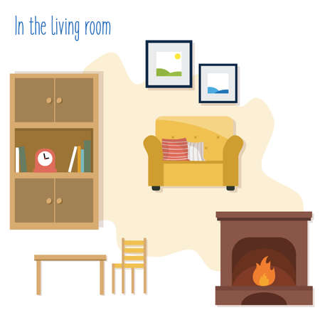In the living room set. Cupboard, armchair, fireplace, pictures, table and chair on the yellow background. Flat vector illustration. Ilustracje wektorowe