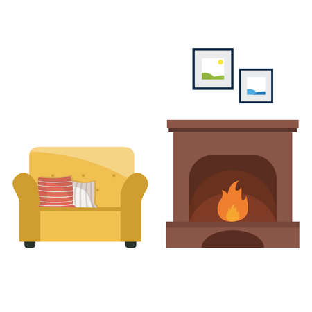 Armchair in front of a fireplace set. vector illustration