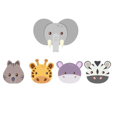 Set of five cute flat animals - elephant, quokka, giraffe, hippo, zebra. vector illustration Vecteurs