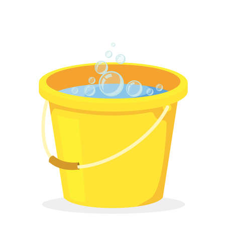 Yellow bucket with water for cleaning, vector illustration