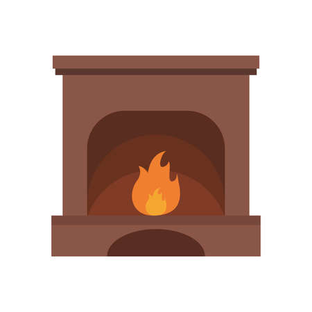Fireplace simple flat icon, vector illustration