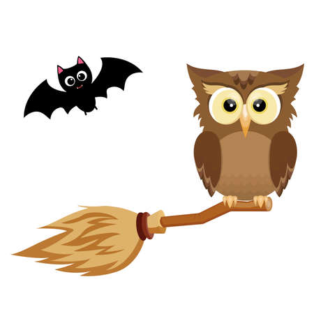 Halloween owl on the broom and the spooky bat. Vector illustration Ilustracja