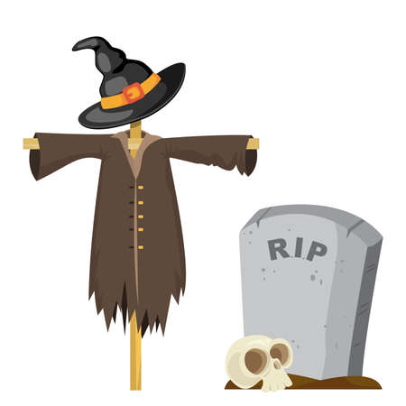 Halloween scarecrow in the black witch hat and the gravestone with skull. Vector illustration Ilustracja