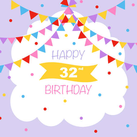 Happy 32nd birthday, vector illustration greeting card with confetti and garlands decorations