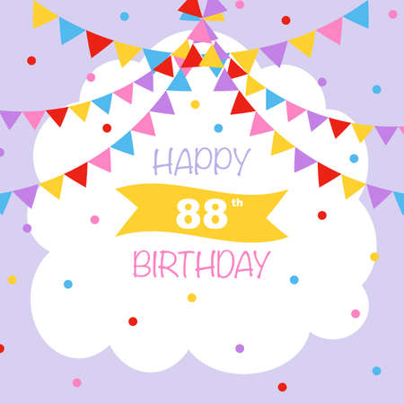 Happy 88th birthday, vector illustration greeting card with confetti and garlands decorations
