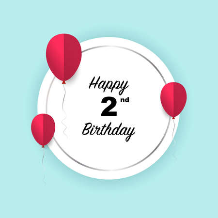 Happy 2nd birthday, vector illustration greeting silver round banner card with red papercut balloons