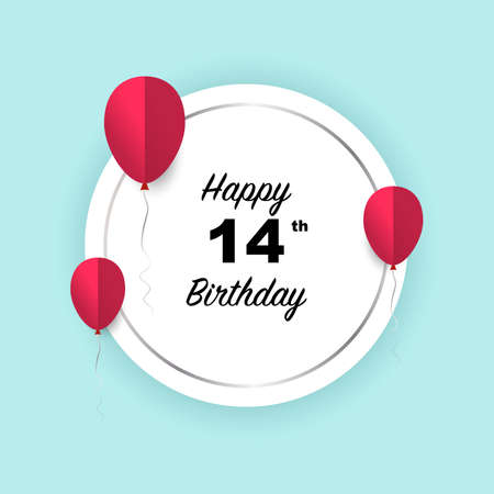Happy 14th birthday, vector illustration greeting silver round banner card with red papercut balloons