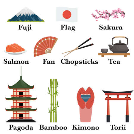 Japan famous symbols icons set, vector illustration