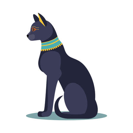 Egyptian black cat. vector illustration Stock Illustratie