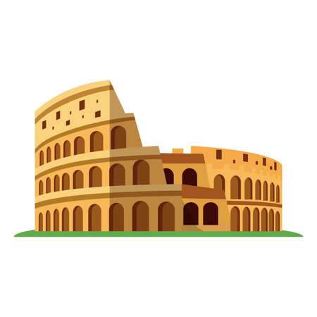Coliseum or Colosseum of Rome. Italian ancient amphitheatre. flat vector illustration