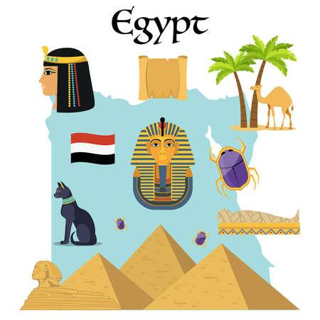 Egypt icons set. Famous egyptian symbols.