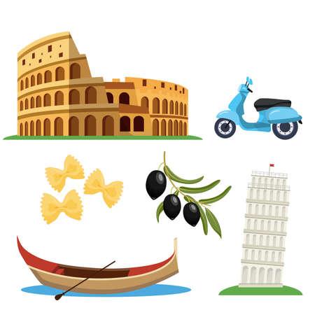 Italian famous symbols icons set. vector illustration