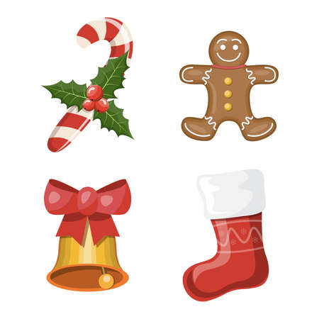 Christmas set. Set of Christmas attributes, cartoon vector illustration
