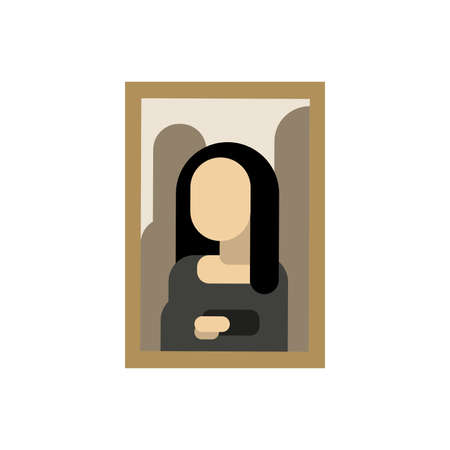 Cartoon vector illustration of famous museum art drawing of Mona Lisa