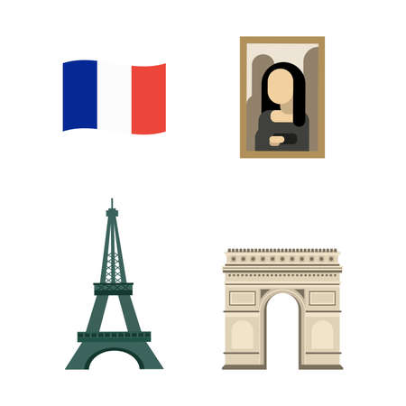 Set of famouse elements and landscapes of France. Vector illustration