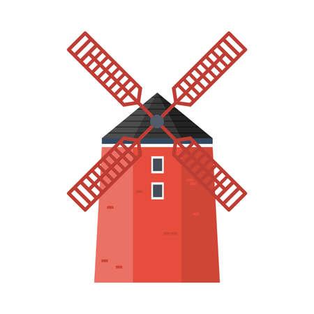 Red windmill. Cartoon vector illustration. Illustration
