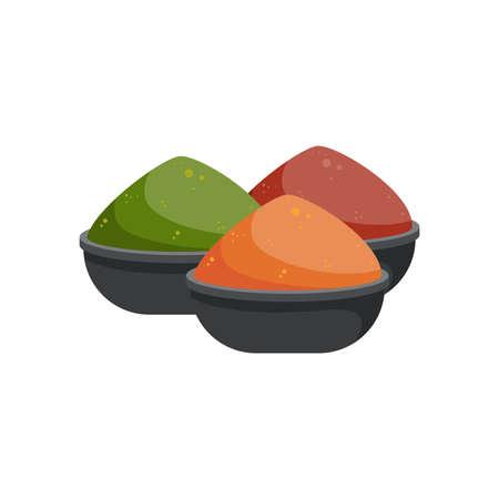 Spices powder bowls set. Aromatic seasoning, vector illustration