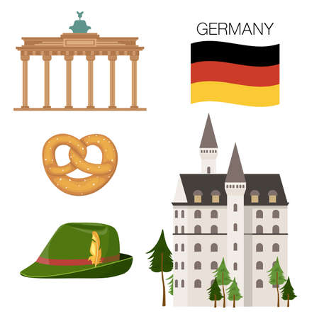 Set of famous attributes of Germany. cartoon vector illustration