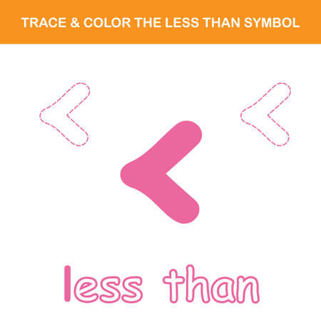 Trace & color the less than symbol worksheet. Easy worksheet, for children in preschool, elementary and middle school.
