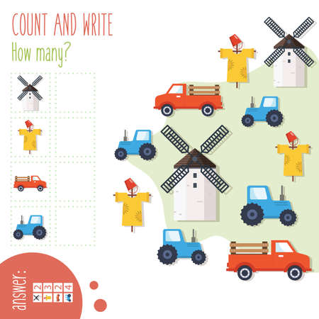 """Count and write. How many? Easy worksheet """"On the farm"""" for preschoolers, children in elementary and middle school. Fun way to practice math. Includes answers. Vector illustration."""