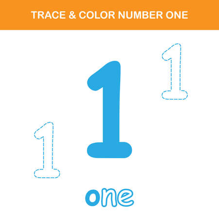 Trace & color number one worksheet. Easy worksheet, for children in preschool, elementary and middle school.