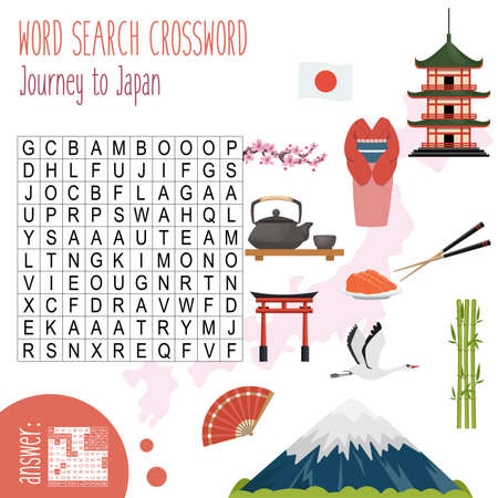 Easy word search crossword puzzle 'Journey to Japan', for children in elementary and middle school. Fun way to practice language comprehension and expand vocabulary. Includes answers. Vector illustration.