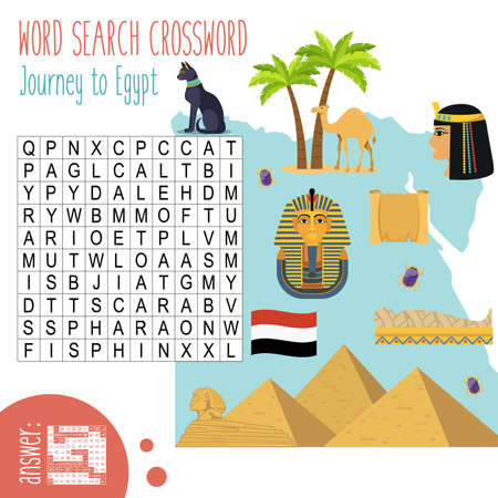 Easy word search crossword puzzle 'Journey to Egypt', for children in elementary and middle school. Fun way to practice language comprehension and expand vocabulary. Includes answers. Vector illustration.