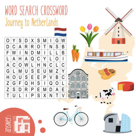Easy crossword puzzle 'Journey to Netherlands', for children in elementary and middle school. Fun way to practice language comprehension and expand vocabulary. Includes answers. Vector illustration.