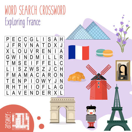Easy word search crossword puzzle 'Exploring France', for children in elementary and middle school. Fun way to practice language comprehension and expand vocabulary. Includes answers. Vector illustration.