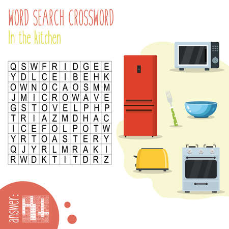 Easy word search crossword puzzle 'In the kitchen', for children in elementary and middle school. Fun way to practice language comprehension and expand vocabulary. Includes answers. Vector illustration. Illustration
