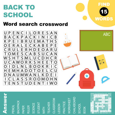 Easy word search crossword puzzle 'Back to school', for children in elementary and middle school. Fun way to practice language comprehension and expand vocabulary.Includes answers. Vector illustration. Illustration
