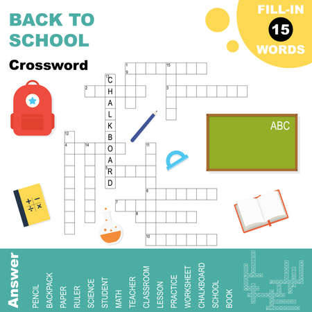Easy crossword puzzle 'Back to school', for children in elementary and middle school. Fun way to practice language comprehension and expand vocabulary.Includes answers. Vector illustration.