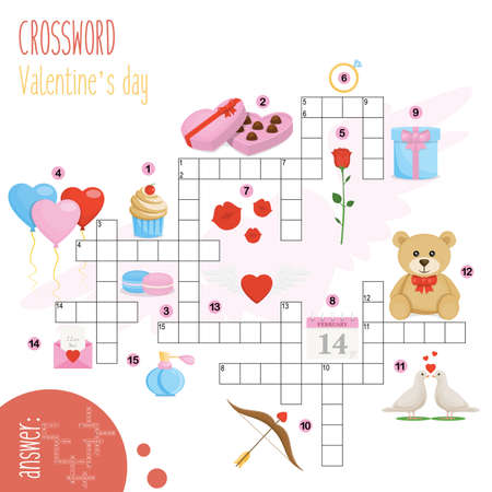 Easy crossword puzzle 'Valentine's day', for children in elementary and middle school. Fun way to practice language comprehension and expand vocabulary.Includes answers. Vector illustration.