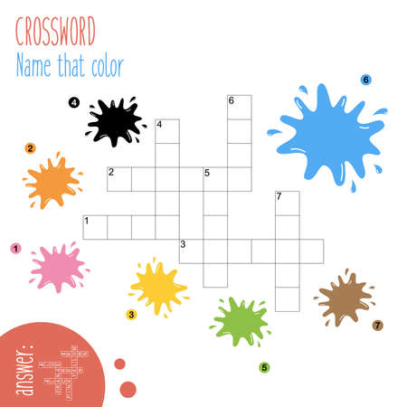 Easy crossword puzzle 'Name that color', for children in elementary and middle school. Fun way to practice language comprehension and expand vocabulary. Includes answers. Vector illustration.