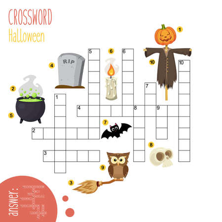Easy crossword puzzle 'Halloween', for children in elementary and middle school. Fun way to practice language comprehension and expand vocabulary. Includes answers. Vector illustration.
