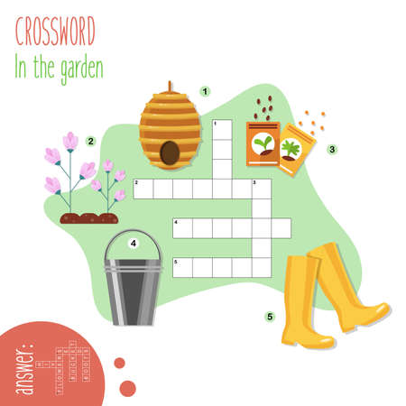 Easy crossword puzzle 'In the garden', for children in elementary and middle school. Fun way to practice language comprehension and expand vocabulary.Includes answers. Vector illustration.