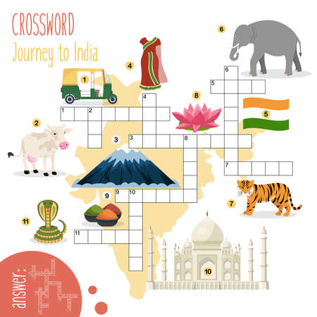 Easy crossword puzzle 'Journey to India', for children in elementary and middle school. Fun way to practice language comprehension and expand vocabulary. Includes answers. Vector illustration.