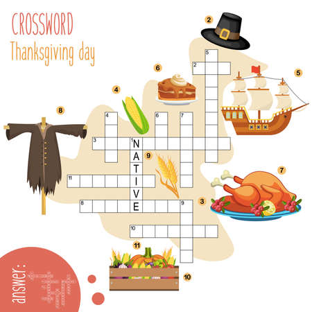 Easy crossword puzzle 'Thanksgiving day', for children in elementary and middle school. Fun way to practice language comprehension and expand vocabulary.Includes answers. Vector illustration. Illustration