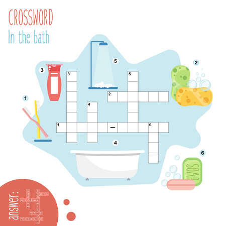 Easy crossword puzzle 'In the bathroom', for children in elementary and middle school. Fun way to practice language comprehension and expand vocabulary.Includes answers. Vector illustration.