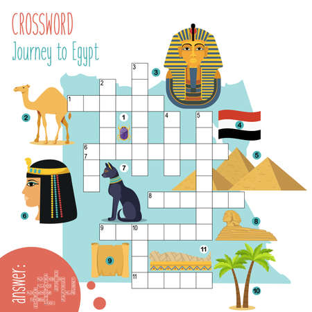 Easy crossword puzzle 'Journey to Egypt', for children in elementary and middle school. Fun way to practice language comprehension and expand vocabulary. Includes answers. Vector illustration. Illustration