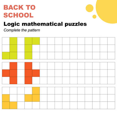 Complete the patterns, mathematical logic puzzles worksheet. Easy worksheet, for children in preschool, elementary and middle school.