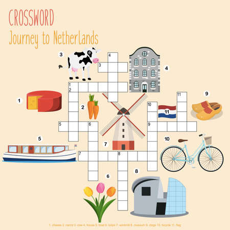 Easy crossword puzzle 'Journey to Netherlands', for children in elementary and middle school. Fun way to practice language comprehension and expand vocabulary.Includes answers. Vector illustration.