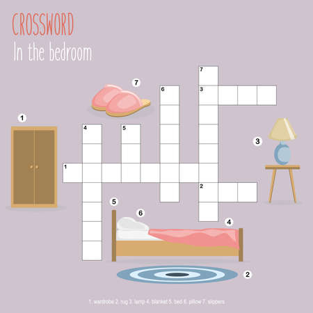 Easy crossword puzzle 'In the bedroom', for children in elementary and middle school. Fun way to practice language comprehension and expand vocabulary. Includes answers. Vector illustration.
