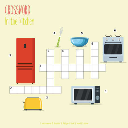 Easy crossword puzzle 'In the kitchen', for children in elementary and middle school. Fun way to practice language comprehension and expand vocabulary. Includes answers. Vector illustration. Illustration