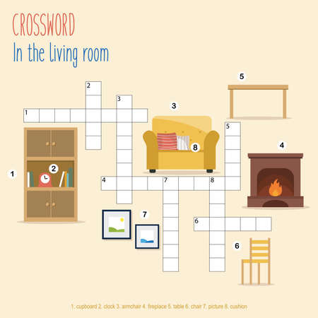 Easy crossword puzzle 'In the livingroom', for children in elementary and middle school. Fun way to practice language comprehension and expand vocabulary. Includes answers. Vector illustration. Illustration