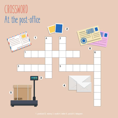 Easy crossword puzzle 'At the post-office', for children in elementary and middle school. Fun way to practice language comprehension and expand vocabulary. Includes answers. Vector illustration.