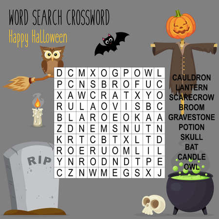 Easy word search crossword puzzle 'Happy Halloween', for children in elementary and middle school. Fun way to practice language comprehension and expand vocabulary. Includes answers. Vector illustration.